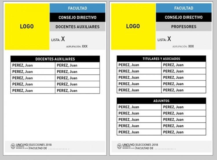 Modelos de boletas para listas de profesores y docentes auxiliares